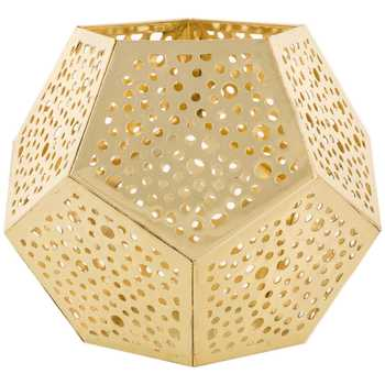 Gold Metal Punched Geometric Tea Light Holder
